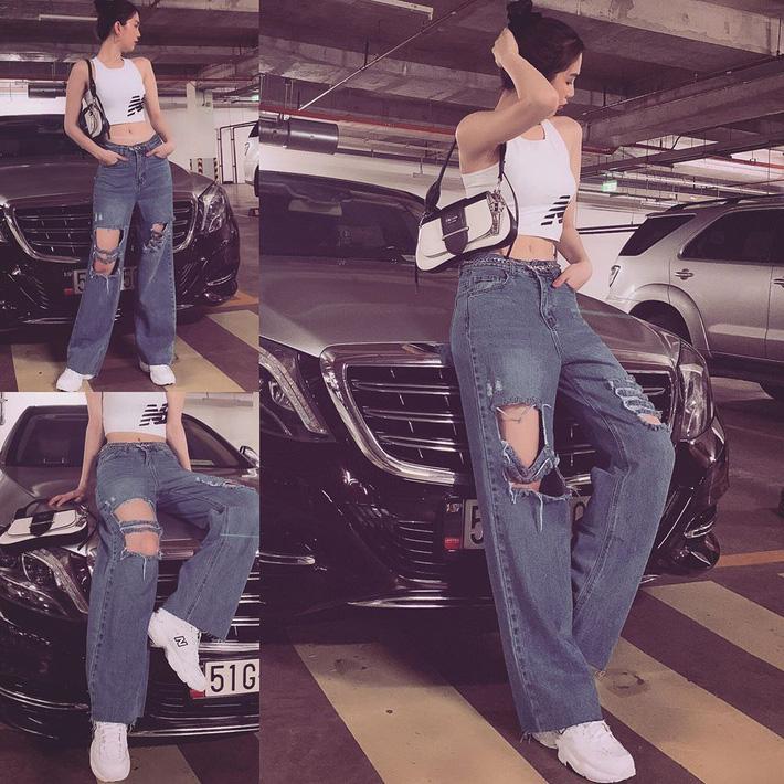 Ngọc Trinh dáng chuẩn nên mặc quần jeans đẹp mê là đương nhiên, mỗi tội lại có đôi lần mix đồ hơi lỗi-4