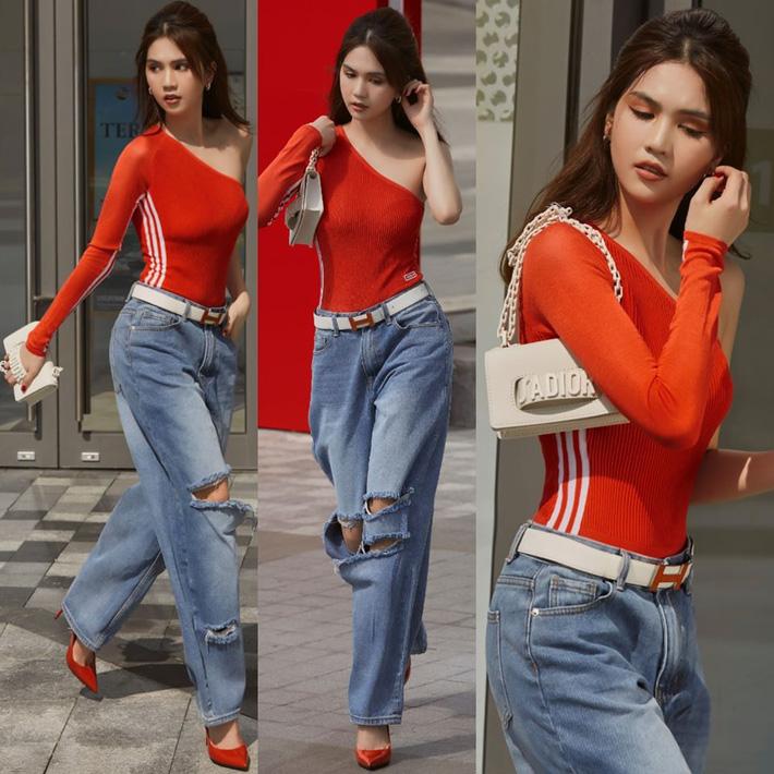 Ngọc Trinh dáng chuẩn nên mặc quần jeans đẹp mê là đương nhiên, mỗi tội lại có đôi lần mix đồ hơi lỗi-7