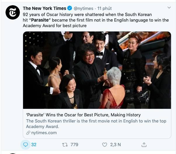 """Ký sinh trùng đoạt 4 giải Oscar: Cả thế giới rúng động trước chiến thắng lịch sử 92 năm có 1"""" của điện ảnh châu Á-2"""
