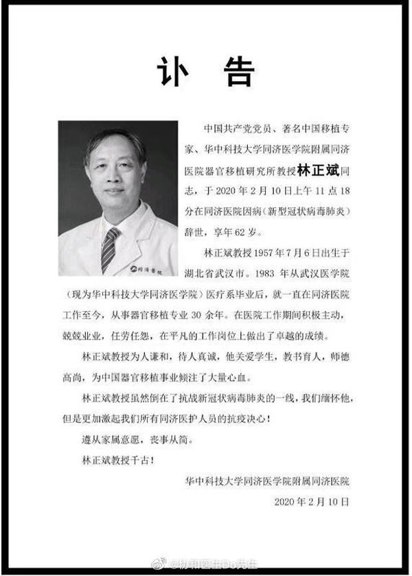 Bác sĩ nổi tiếng Trung Quốc qua đời ở Vũ Hán vì nhiễm virus corona-1