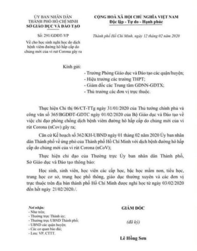 Mạng xãhội xuất hiện công văn giả cho học sinh TPHCM nghỉ học đến hết ngày 21/2-1