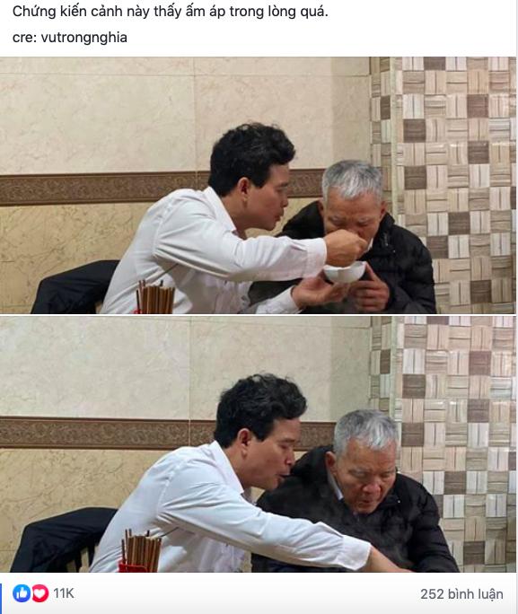Hình ảnh người con trai lớn tuổi đút từng thìa bún rồi động viên Bố cố ăn hết bát này nhé khiến nhiều người nghẹn ngào-1