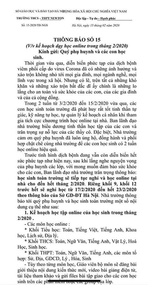 Xôn xao thông tin một trường ở Hà Nội thu thêm 2,5 triệu đồng/tháng để tổ chức dạy học online, phụ huynh bức xúc lên tiếng-1
