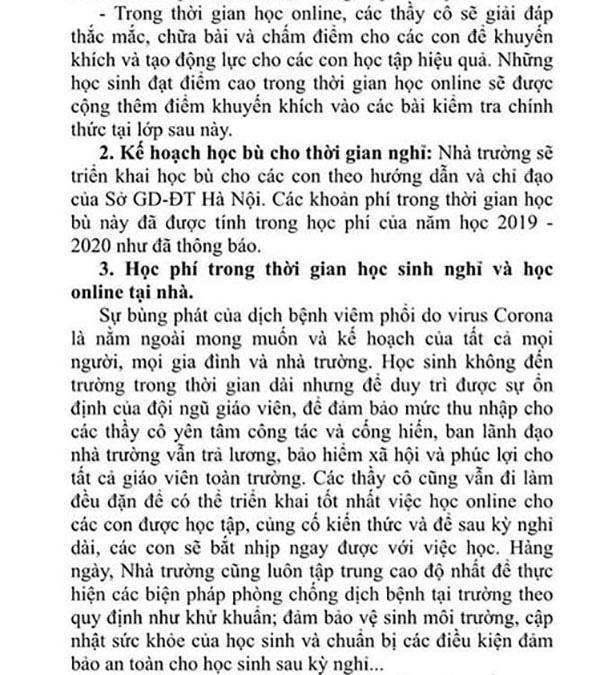 Xôn xao thông tin một trường ở Hà Nội thu thêm 2,5 triệu đồng/tháng để tổ chức dạy học online, phụ huynh bức xúc lên tiếng-2