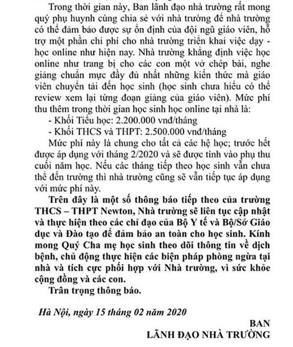 Xôn xao thông tin một trường ở Hà Nội thu thêm 2,5 triệu đồng/tháng để tổ chức dạy học online, phụ huynh bức xúc lên tiếng-3