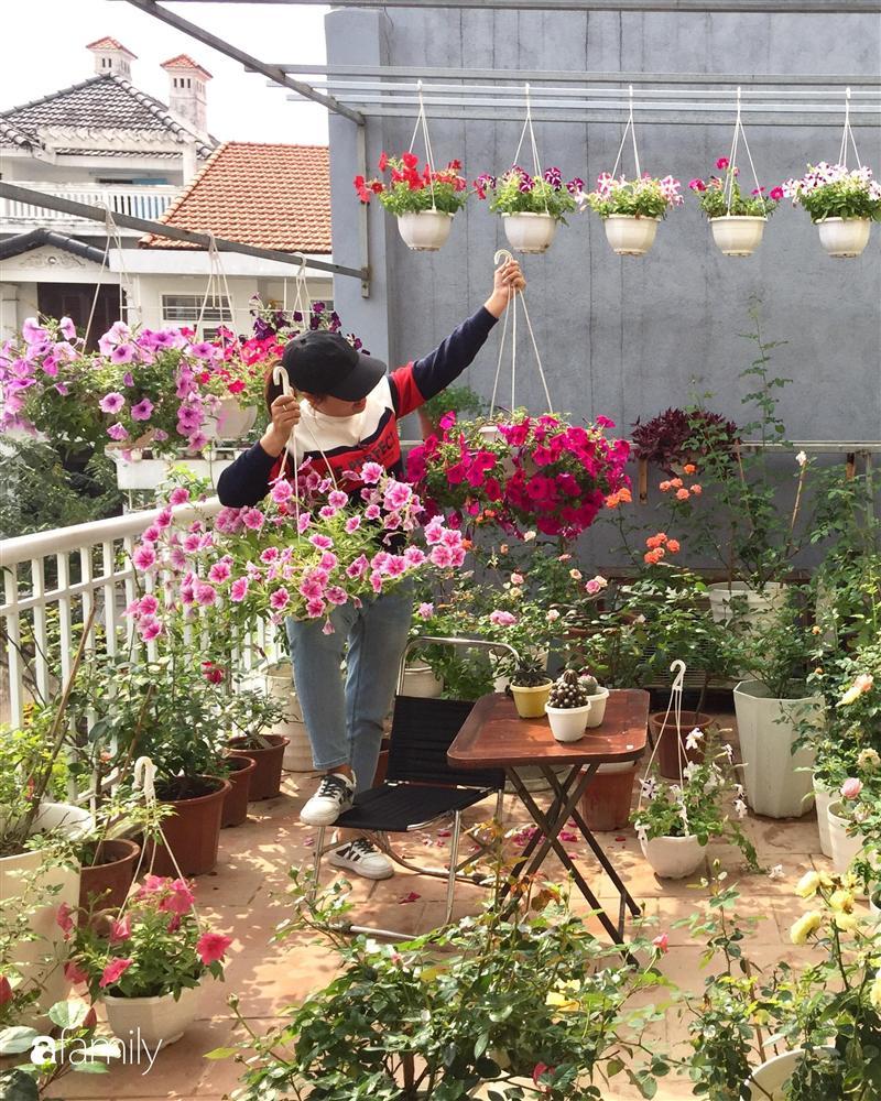 Mê hoa hồng, cô gái trẻ xứ Huế quyết tâm thức khuya dậy sớm tạo cả khu vườn hồng rực rỡ trên sân thượng-4