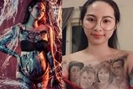 Cô gái có gương mặt Á Đông gây choáng MXH khi xăm hình cả gia đình kín ngực