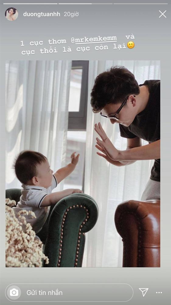Á hậu Tú Anh khoe ảnh chồng con nhưng lại gây chú ý vì cách xưng hô lạ với ông xã-1