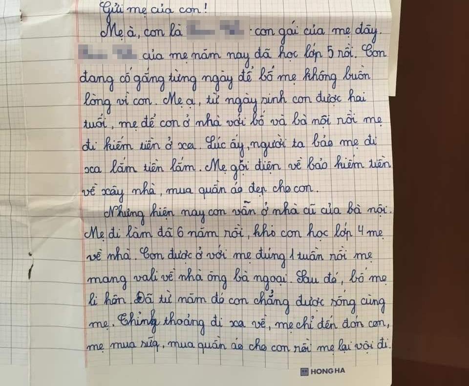 Được yêu cầu viết thông điệp gửi một người lớn, học sinh lớp 5 khiến mọi người bật khóc: Con mong mẹ hiểu, mẹ còn đứa con gái đang sống cùng bà nội-1