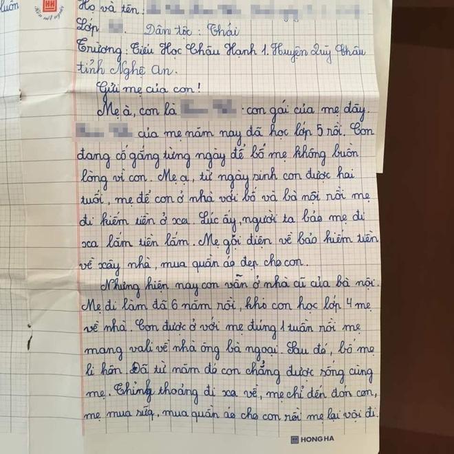 Sự thật về lá thư của học sinh lớp 5 đang gây bão mạng Con mong mẹ hiểu, mẹ còn đứa con gái đang sống cùng bà nội-1
