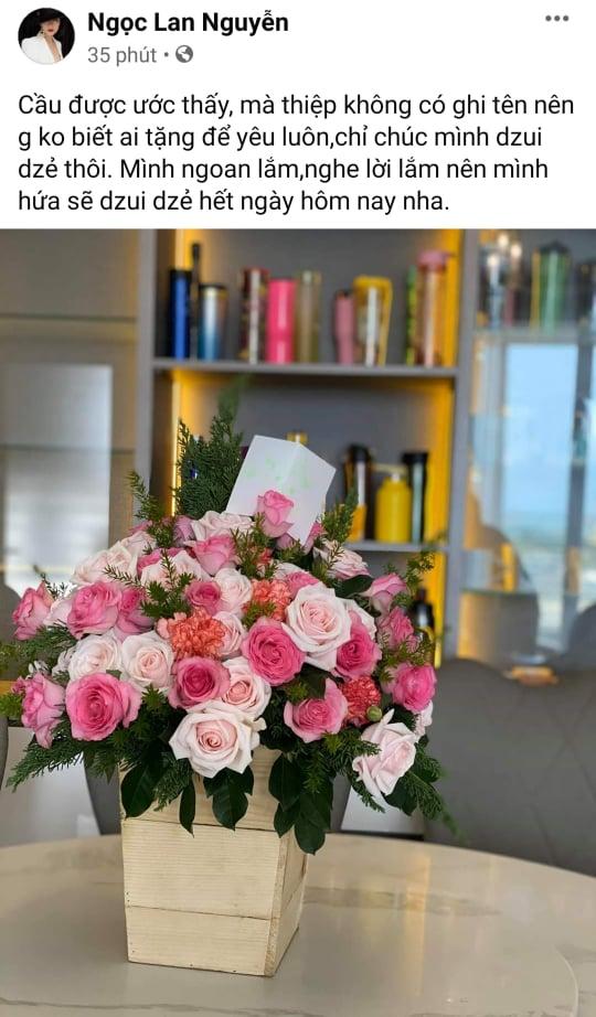 Sau 3 tháng ly hôn, Ngọc Lan khoe hoa người lạ tặng, cư dân mạng lại nghi là Thanh Bình-1