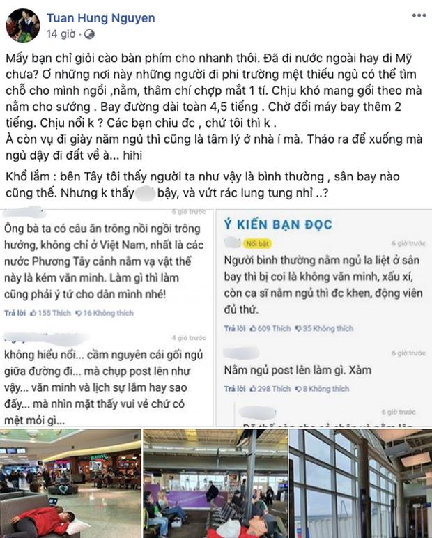 Bị chỉ trích dáng ngủ tại sân bay, Tuấn Hưng gay gắt phản pháo: Đã đi nước ngoài hay đi Mỹ chưa?-1