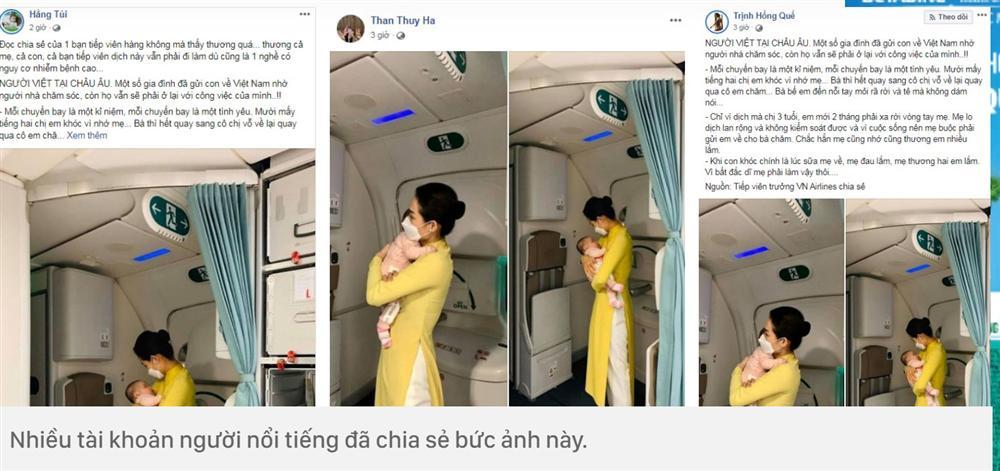 Hình ảnh nữ tiếp viên hàng không tận tình bế ẵm em bé mới 2 tháng tuổi đã phải xa mẹ về Việt Nam được nhiều người nổi tiếng chia sẻ đầy xúc động-3