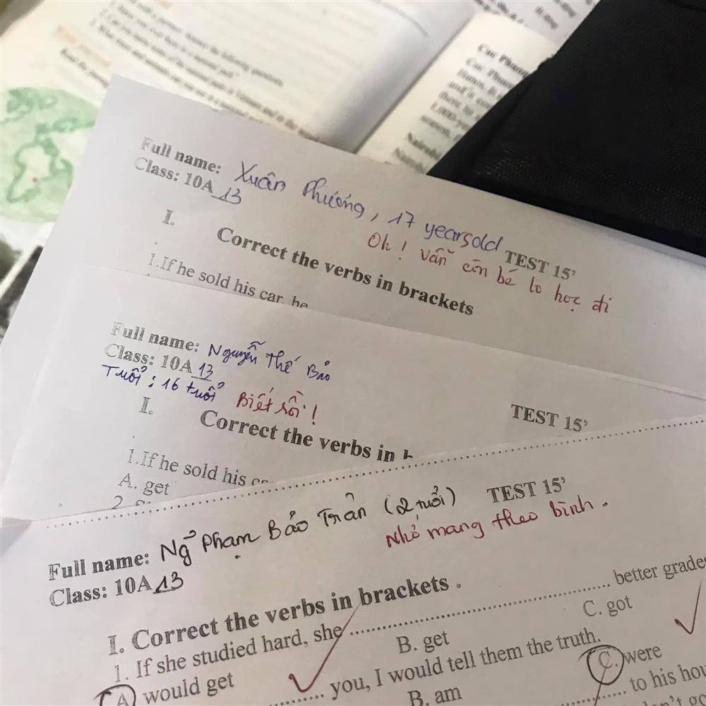 Cô giáo nhắc ghi đủ tên tuổi vào bài kiểm tra, học sinh lầy lội làm theo nhưng cười không trượt phát nào khi đọc lời phê-1