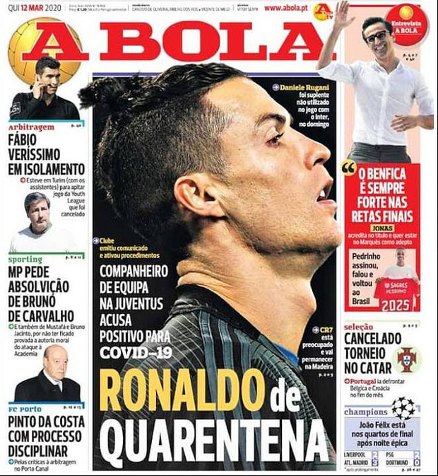 Ronaldo bị cách ly ở Bồ Đào Nha sau khi tiếp xúc gần với đồng đội nhiễm SARS-CoV-2-3