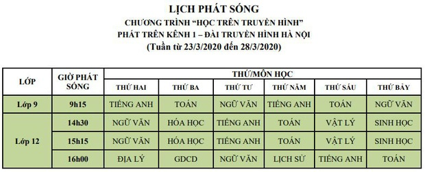 Lịch phát sóng chi tiết chương trình học online dành cho học sinh tất cả các cấp tại Hà Nội-3