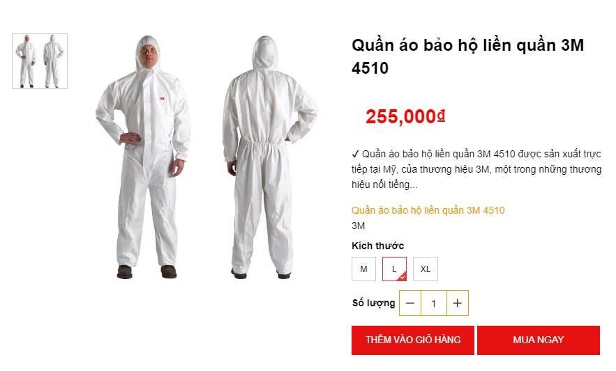 Bộ quần áo phòng dịch bán đa dạng tại các địa chỉ online, giá tuy cao nhưng là phương án được nhiều người tiêu dùng cân nhắc-3