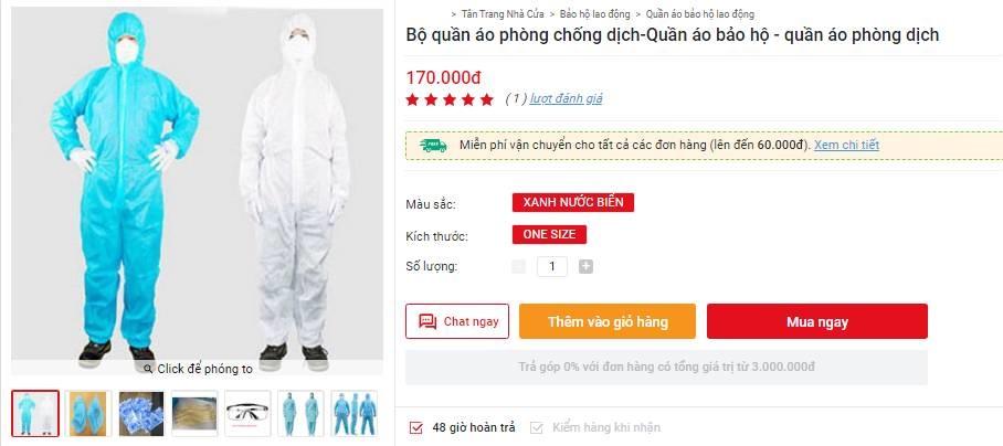 Bộ quần áo phòng dịch bán đa dạng tại các địa chỉ online, giá tuy cao nhưng là phương án được nhiều người tiêu dùng cân nhắc-7