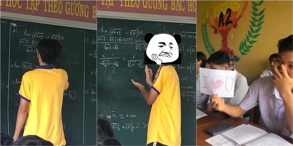 Nam sinh lên bảng không giải được bài bèn làm 1 việc, cô giáo không vừa đáp trả bằng hành động khiến cả lớp cười ngất-3