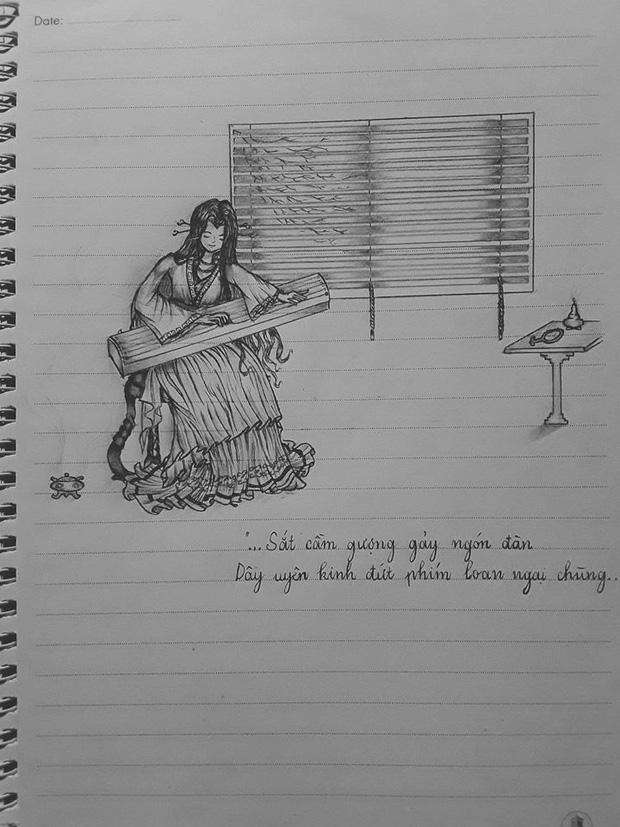 Tự vẽ tranh sương sương minh họa cho tác phẩm văn học, nam sinh khiến ai nấy sửng sốt bởi tài múa bút chẳng kém cạnh họa sĩ-2