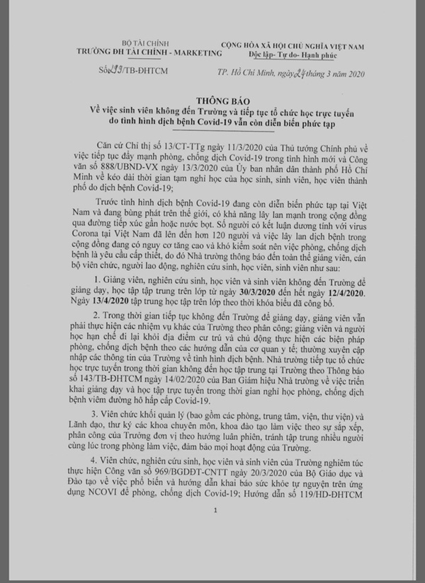Trường ĐH gửi thông báo khẩn cho sinh viên tiếp tục nghỉ đến hết 12/4-1