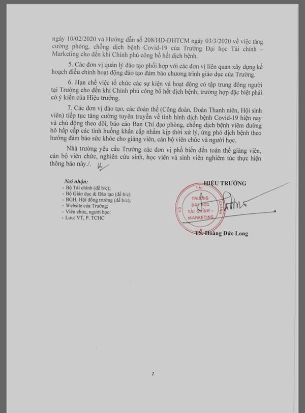 Trường ĐH gửi thông báo khẩn cho sinh viên tiếp tục nghỉ đến hết 12/4-2