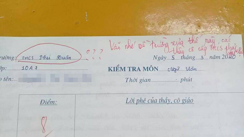 Nhầm nhọt cả tên trường trong bài kiểm tra, nữ sinh lớp 10 bị cô giáo thả một câu nhẹ nhàng nhưng cũng đủ toát mồ hôi hột-1