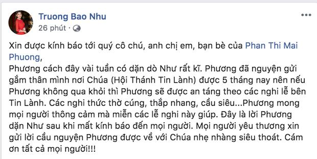 Bạn thân chia sẻ di nguyện của Mai Phương trước khi qua đời: Đã dặn dò chu đáo chuyện hậu sự từ vài tuần trước!-1