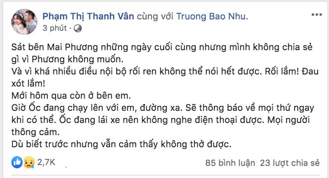 Ốc Thanh Vân xót xa tâm sự về Mai Phương trước khi cố nghệ sĩ qua đời: Mình không chia sẻ gì vì Phương không muốn-1