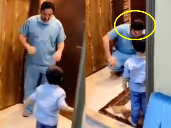 Hình ảnh vị bác sĩ ngồi sụp xuống, ôm mặt khóc nức nở khi không thể ôm con trai vào lòng vì sợ lây nhiễm Covid-19 từ bệnh viện gây bão MXH-1