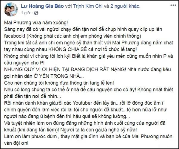 Ốc Thanh Vân, Đại Nghĩa phẫn nộ vì có người trà trộn chụp hình thi thể Mai Phương-3