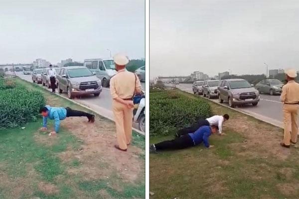 Clip: CSGT phạt tài xế chống đẩy giữa đường vì không đeo khẩu trang phòng chống dịch bệnh-1