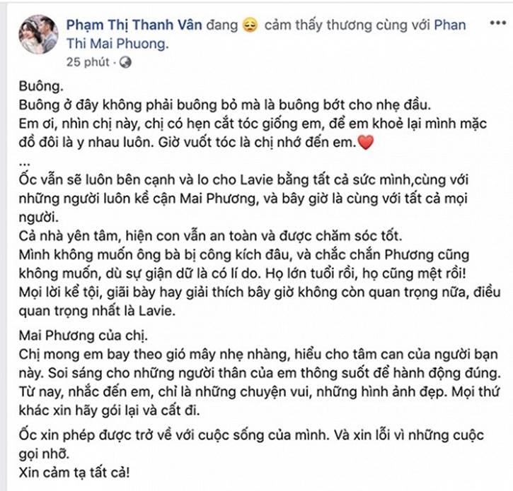 Ốc Thanh Vân tiết lộ tình trạng hiện tại của con gái Mai Phương, khẳng định sẽ dốc toàn bộ sức lực lo cho Lavie-1