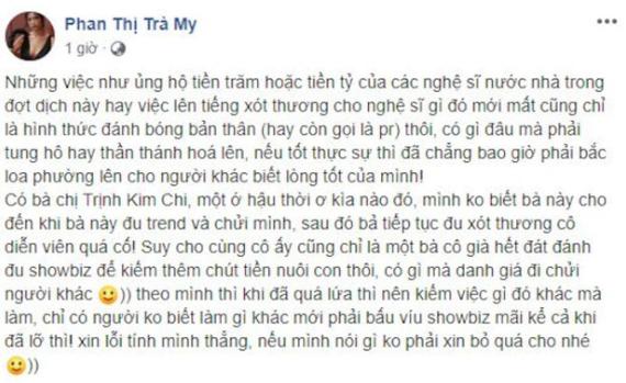 Trà My Thương nhớ ở ai mỉa mai NSƯT Trịnh Kim Chi và loạt sao Việt lên tiếng xót thương cho Mai Phương-1