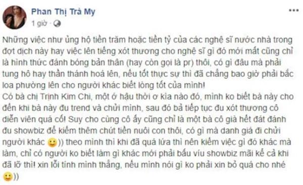 Tiếp tục công khai mỉa mai NSƯT Trịnh Kim Chi đạo đức giả, Trà My Thương nhớ ở ai lại gây bức xúc-3