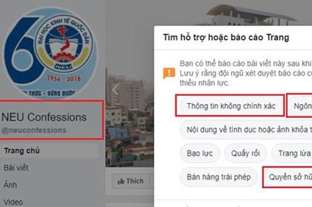 Fanpage NEU Confessions bị tố cáo ăn cắp chất xám, bị report