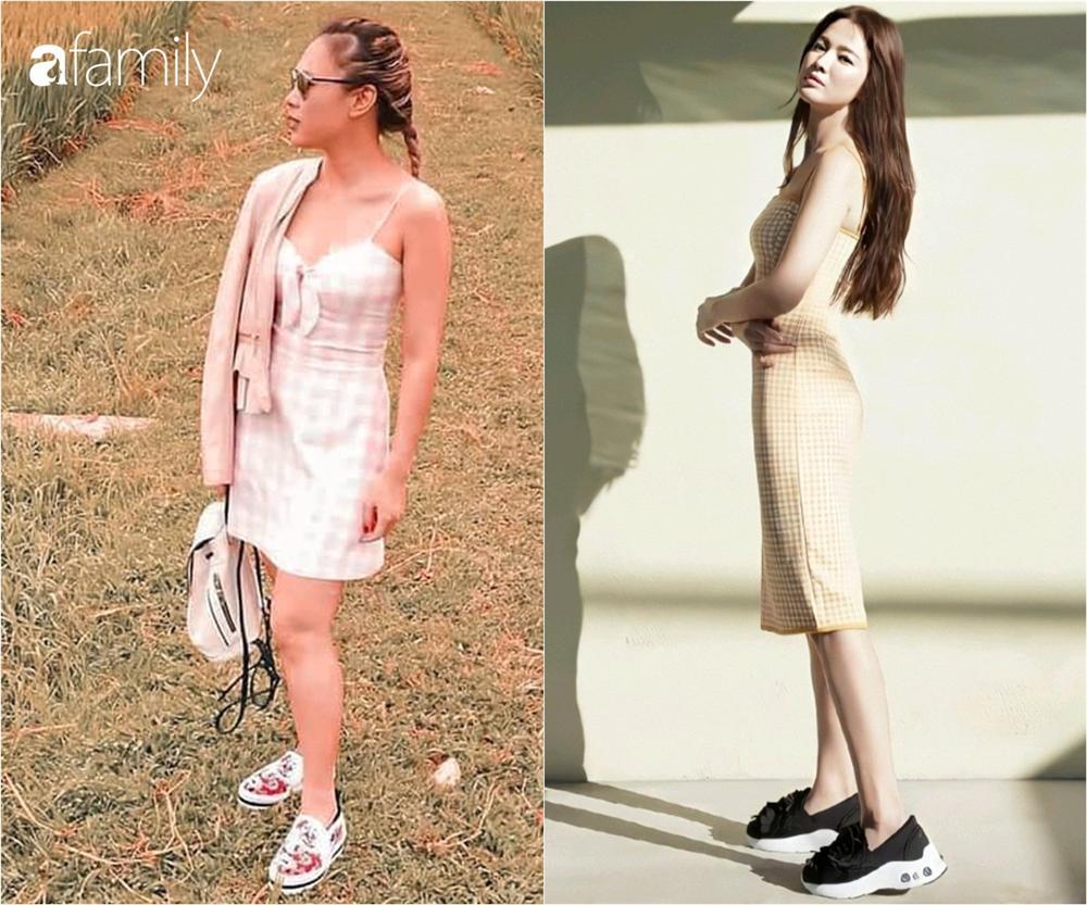 Cùng một kiểu váy hack tuổi: Song Hye Kyo thì được khen, Mỹ Tâm lại bị chê hơi sến-1