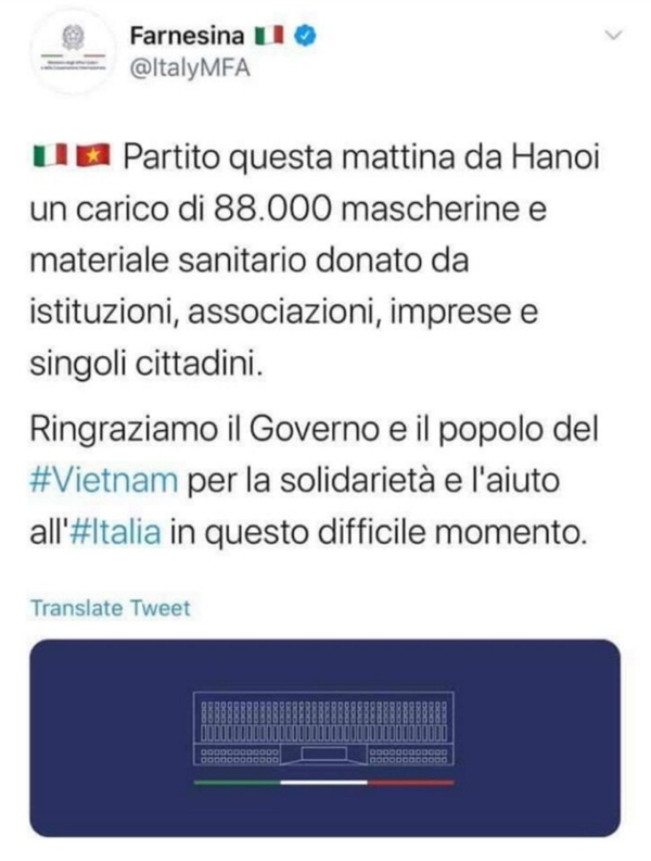 Tổng thống Trump cùng đại diện nước Ý lần lượt đăng lời cảm ơn Việt Nam trên Twitter vì giúp chống dịch Covid-19-2