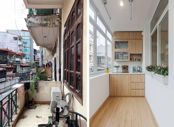 Nhà ống 3 tầng lột xác sau cải tạo, ban công thành khu bếp tuyệt đẹp-1