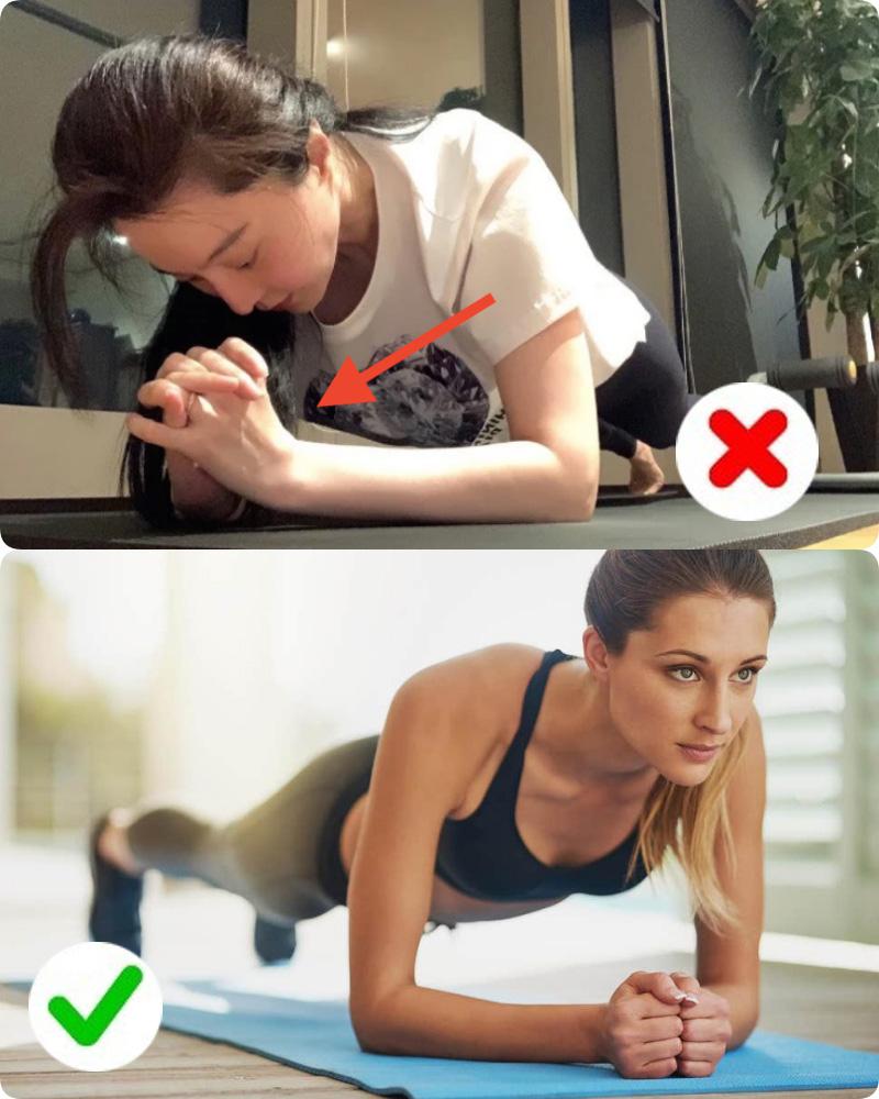 Phạm Băng Băng tập Plank nhưng lại mắc lỗi sai cơ bản mà đa số chị em gặp phải, bảo sao tập xong tay đau và lưng nhức mỏi-4
