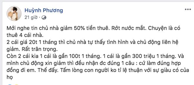 Huỳnh Phương bị ném đá gay gắt vì trách chủ nhà không giảm tiền thuê mùa dịch, còn đăng đàn đáp trả nhưng có hợp lý?-1