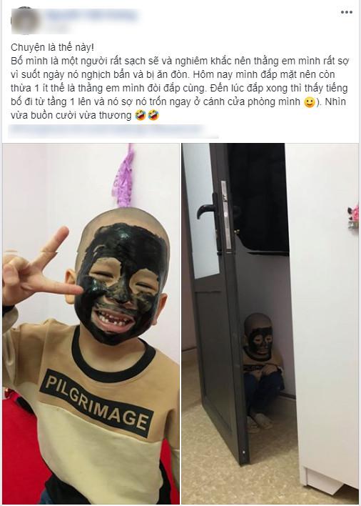 Hí hửng đòi chị cho đắp mặt làm đẹp, cậu em trai có biểu cảm trông đến tội khi nghe tiếng chân bố về-1