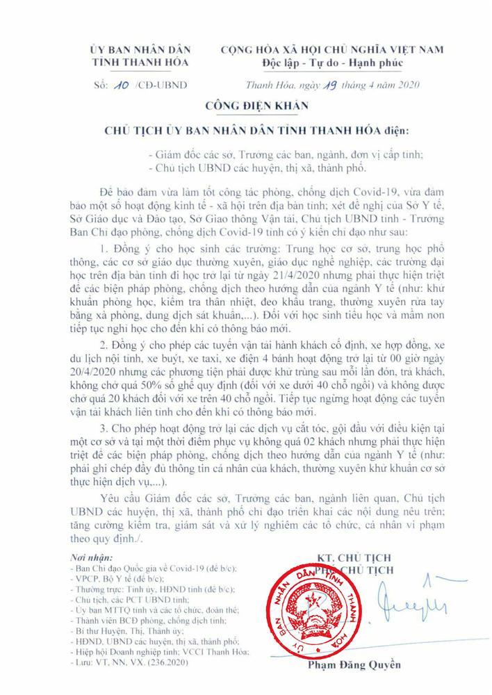 Thêm 1 tỉnh ra công điện khẩn chính thức cho học sinh đi học lại vào ngày 21/4-1