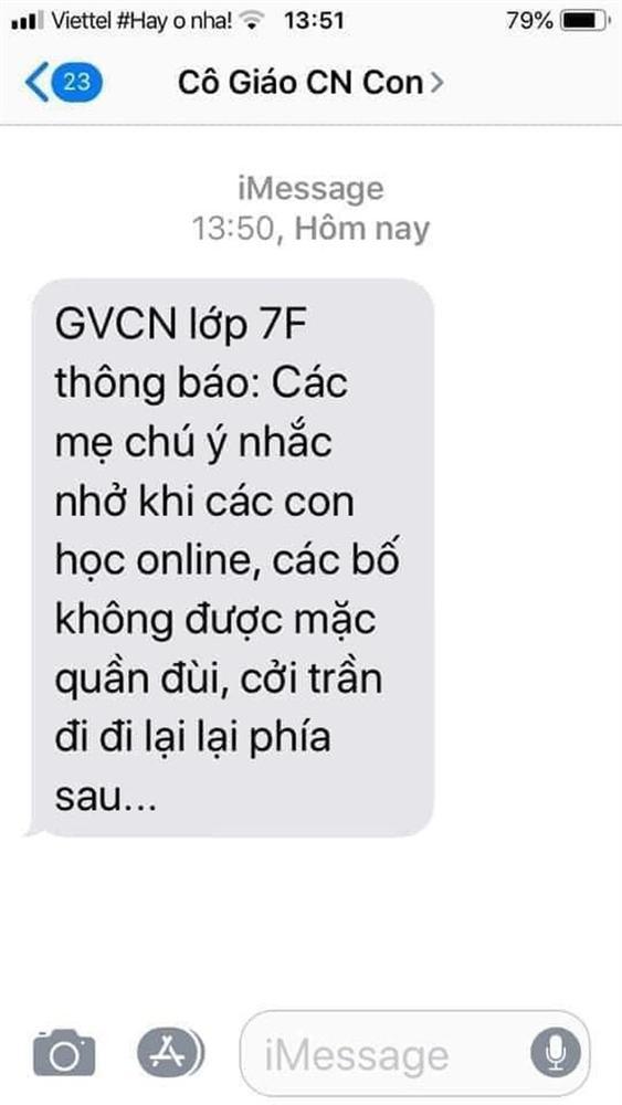 Dòng tin nhắn của GVCN khiến dân tình cười ngất: Khi con học online, các bố không được mặc quần đùi, cởi trần đi đi lại lại phía sau...-1
