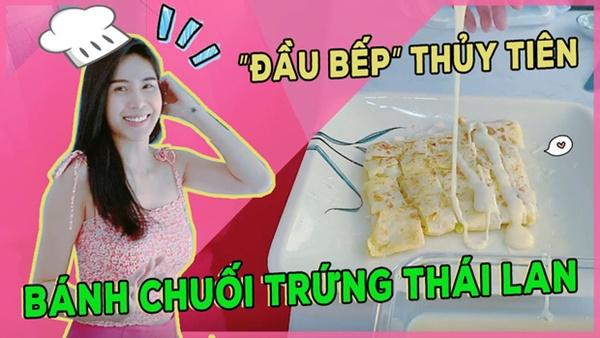 Thuỷ Tiêntrổ tài làm bánh chuối kiểu Thái cho Công Vinh và bé Bánh Gạo: cũng định quăng bột bánh cho điệu nghệnhưng bó tay-1