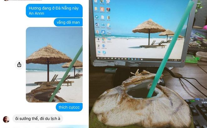 Khoe nằm bãi biển uống nước dừa, cô gái khiến đám bạn ở nhà ghen tị, sự thật đau lòng nằm trong tấm ảnh cuối-1