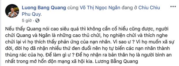 Lương Bằng Quang ra sức bênh vực Ngân 98 trước lùm xùm đá đểu Ngọc Trinh, tiện thể khoe thành quả nhờ bạn gái-1