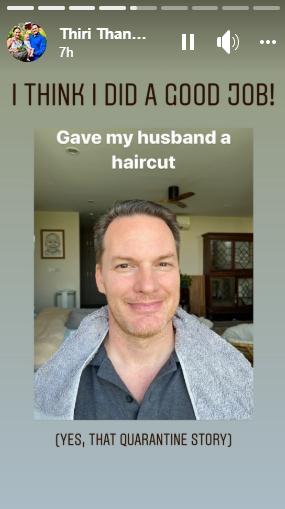 Vợ đại gia nhắc lại chuyện tình 20 năm trước với chồng cũ Hồng Nhung khi cắt tóc cho ông xã-1
