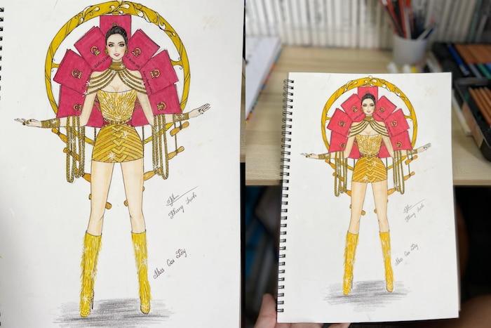 Bản thiết kế trang phục dân tộc 7 miếng đất cho Khánh Vân thi Miss Universe 2020 gây tranh cãi-2