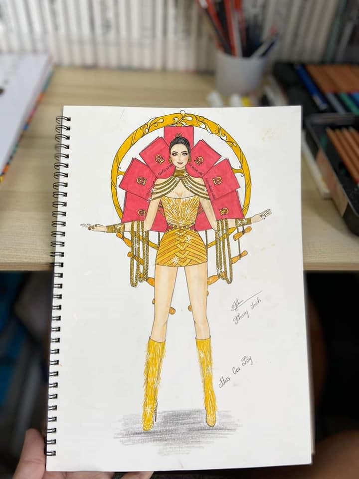 Bản thiết kế trang phục dân tộc 7 miếng đất cho Khánh Vân thi Miss Universe 2020 gây tranh cãi-4